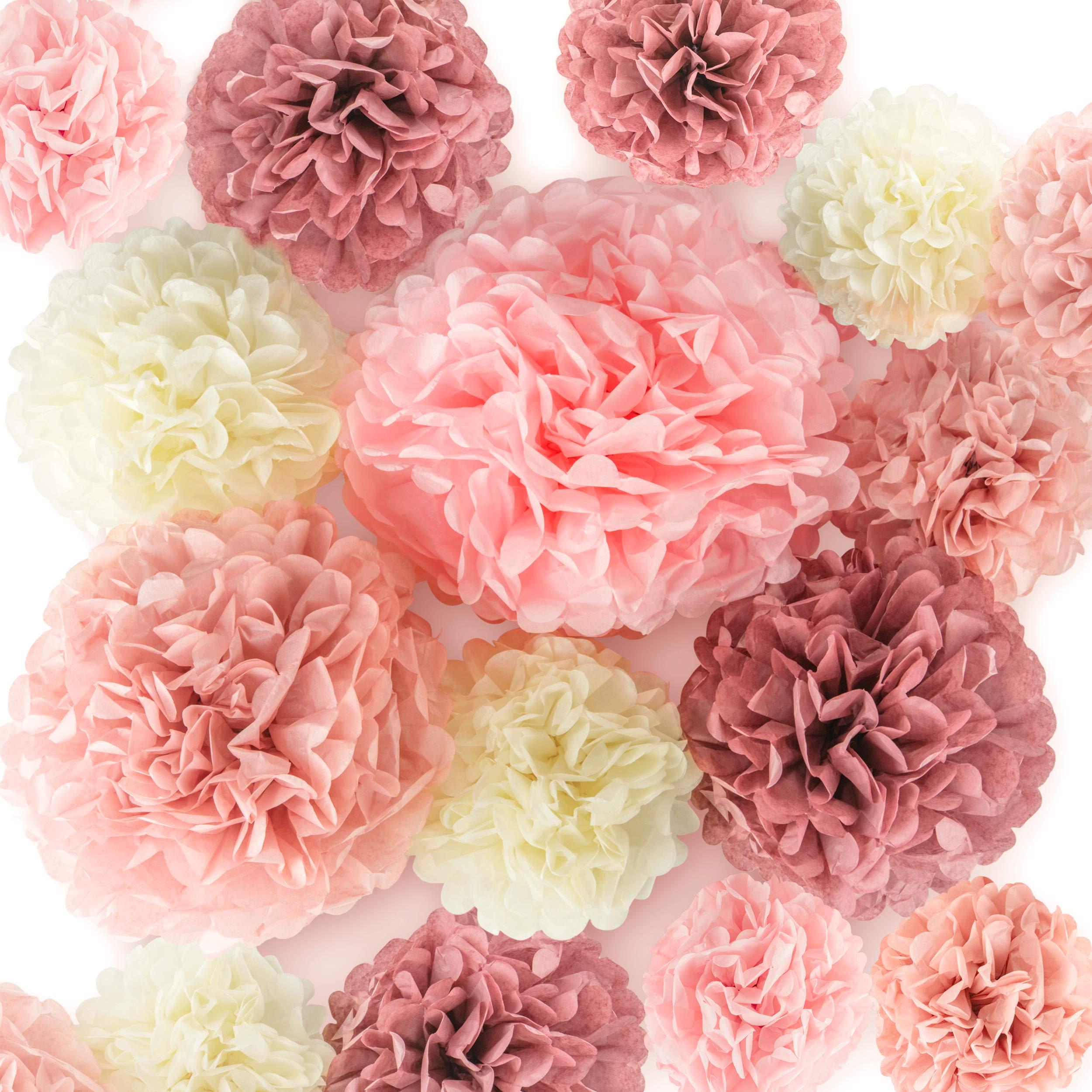 EpiqueOne 20 Pieces Blush Pink, Dusty Rose, Mauve, Cream Tissue Paper Pom Poms - Ceiling and Party Decorations - Backdrop Flowers by EPIQUEONE