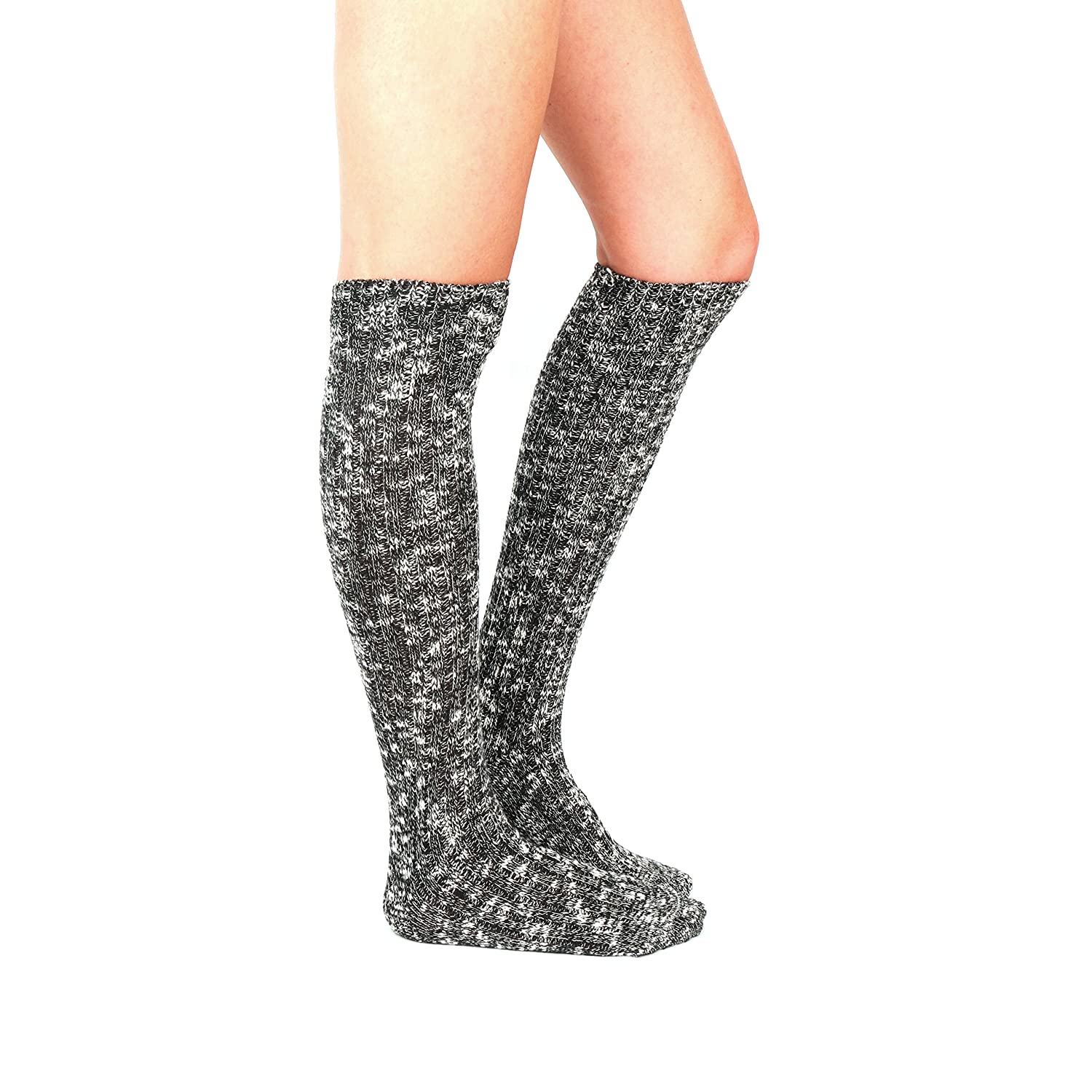 c27eb9f2bd218 Women's Knee High Wool Socks Soft Warm Thick Thermal Girl Winter Cushion  Crew Quarter (A-Black) at Amazon Women's Clothing store: