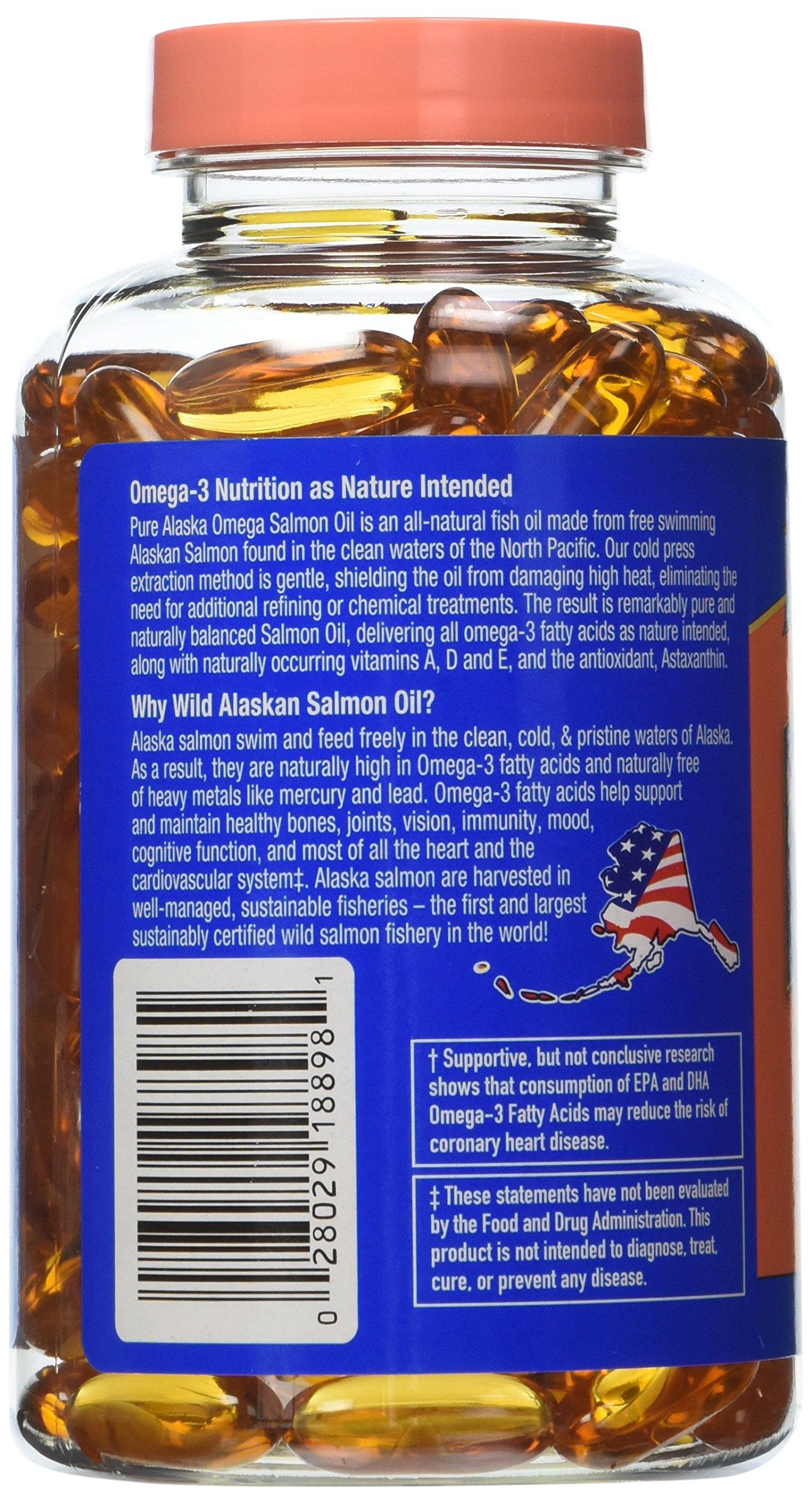 Pure Alaska Omega Wild Alaskan Salmon Oil 1000 mg - 2 Bottles, 180 Softgels Each