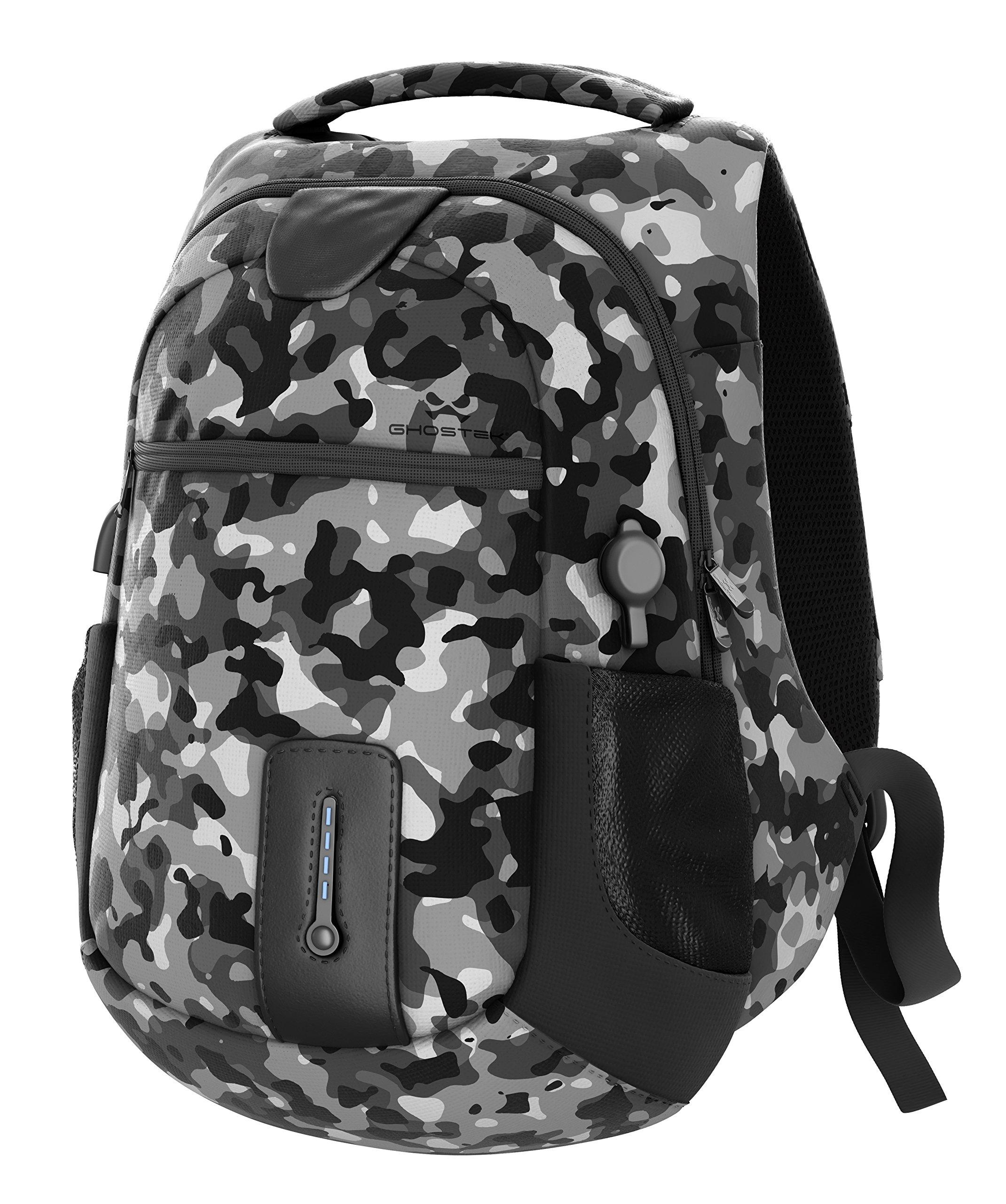 Ghostek NRGbag Series Computer Laptop Messenger Backpack Book Bag + Power Bank | Water Resistant | 7000mAh | Lightweight | Multipurpose | Laptops Up To 15.6'' | iPhone Macbook (Gray Camo) by Ghostek