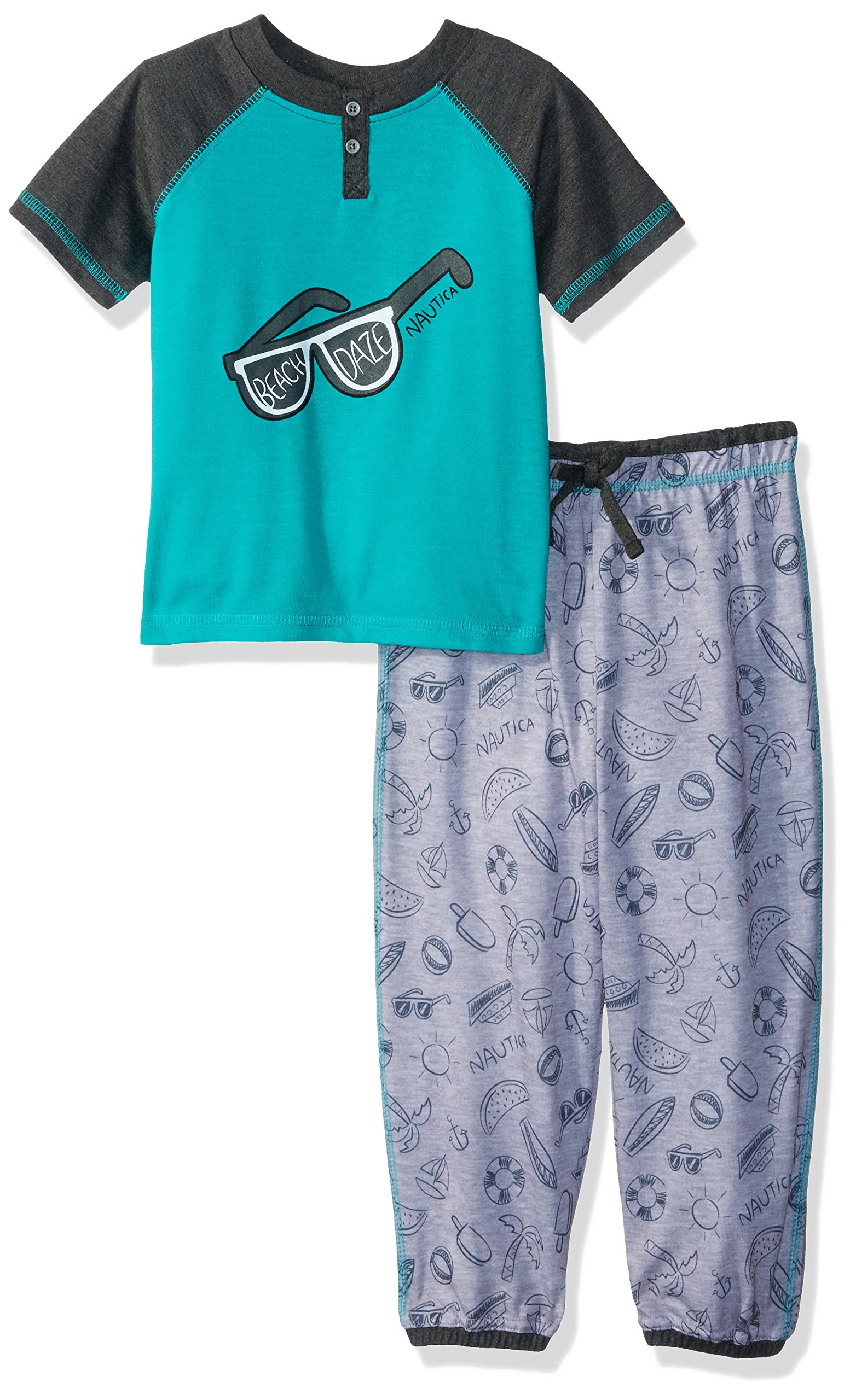 Nautica Toddler Boys' Sunglasses 2 Piece Pajama Set, Teal, 4T