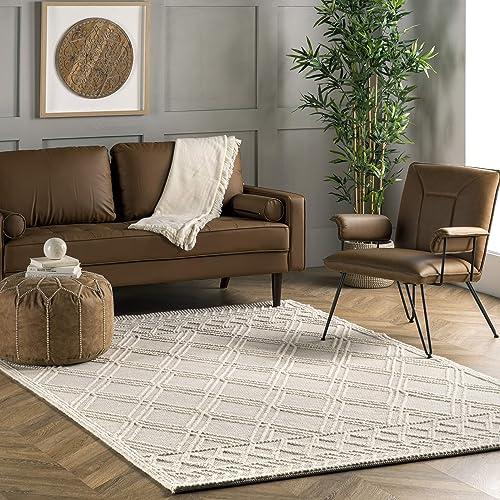 nuLOOM Natti Contemporary Trellis Wool Area Rug