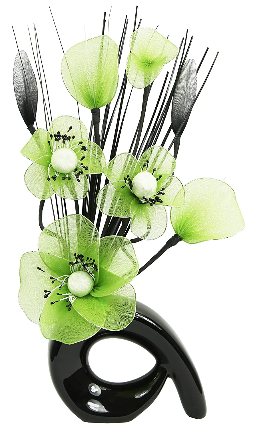 Flourish 793333 QH1 Black Vase with Green Nylon Artificial Flowers in Vase, Fake Flowers, Ornaments, Small Gift, Home Accessories, 32cm