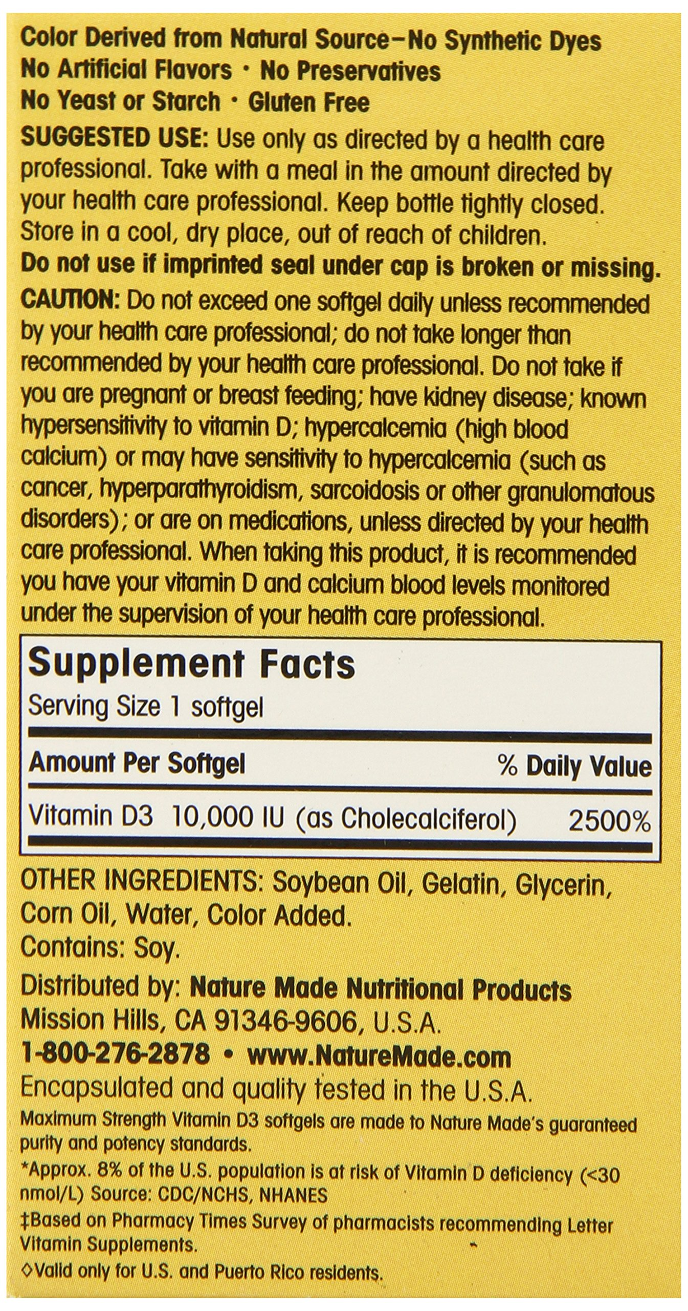 Nature Made Maximum Strength Vitamin D3 10,000 I.U. Soft gel, 60 Count by Nature Made (Image #4)