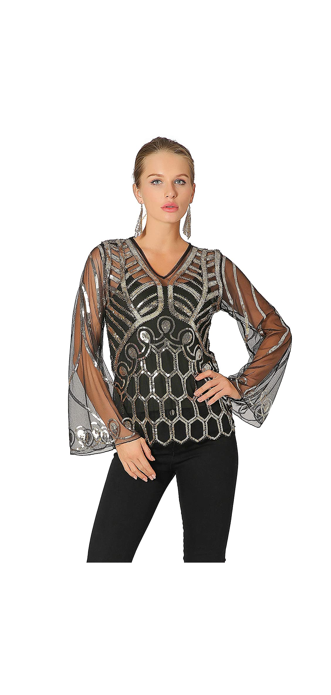 Pagoda Sleeve Tops Lace Cover Up V Neck Sequins Art Deco