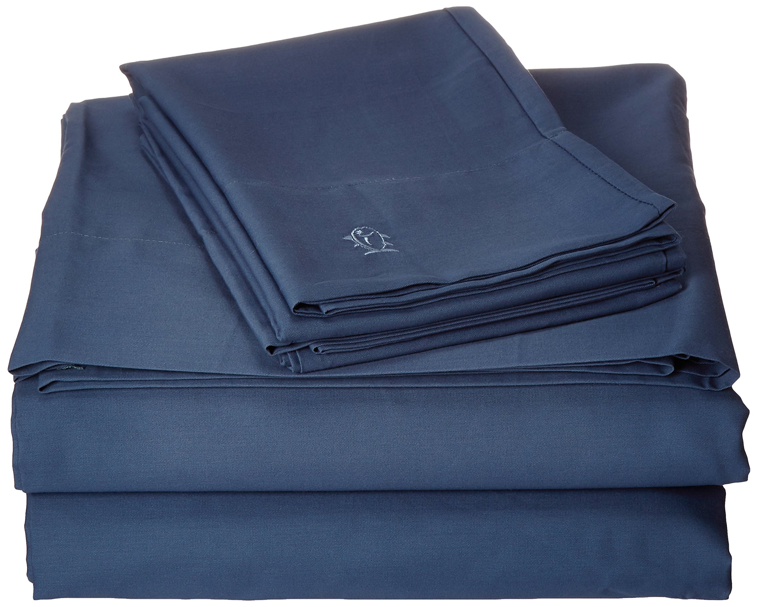 Southern Tide Skipjack Tonal Embroidered Twill Sheet Set, Queen, Nautical Blue