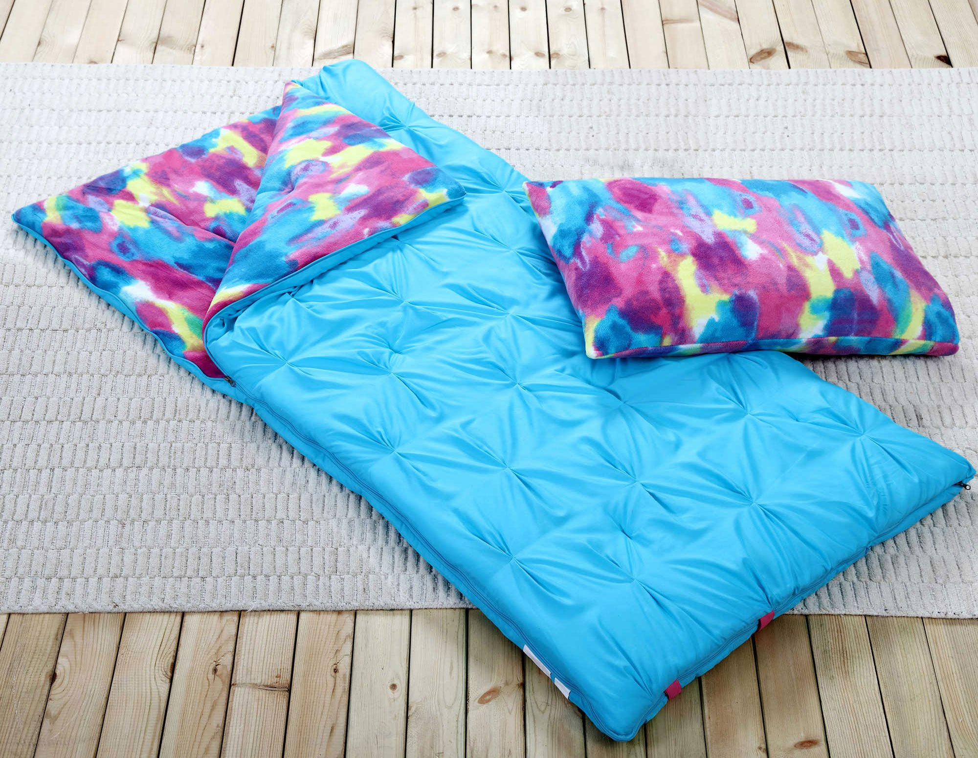 Sleeping Bag and Pillow Cover, Blue Tie-Dye Indoor Outdoor Camping Youth Kids Girls