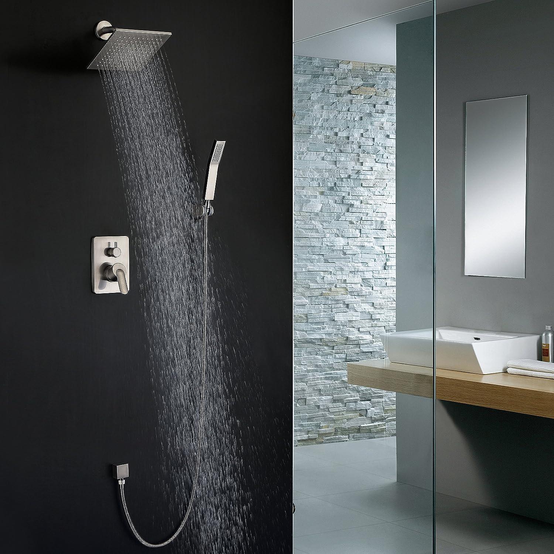 Shower Fixtures Brushed Nickel All Metal Split Big Flow Rain Shower ...