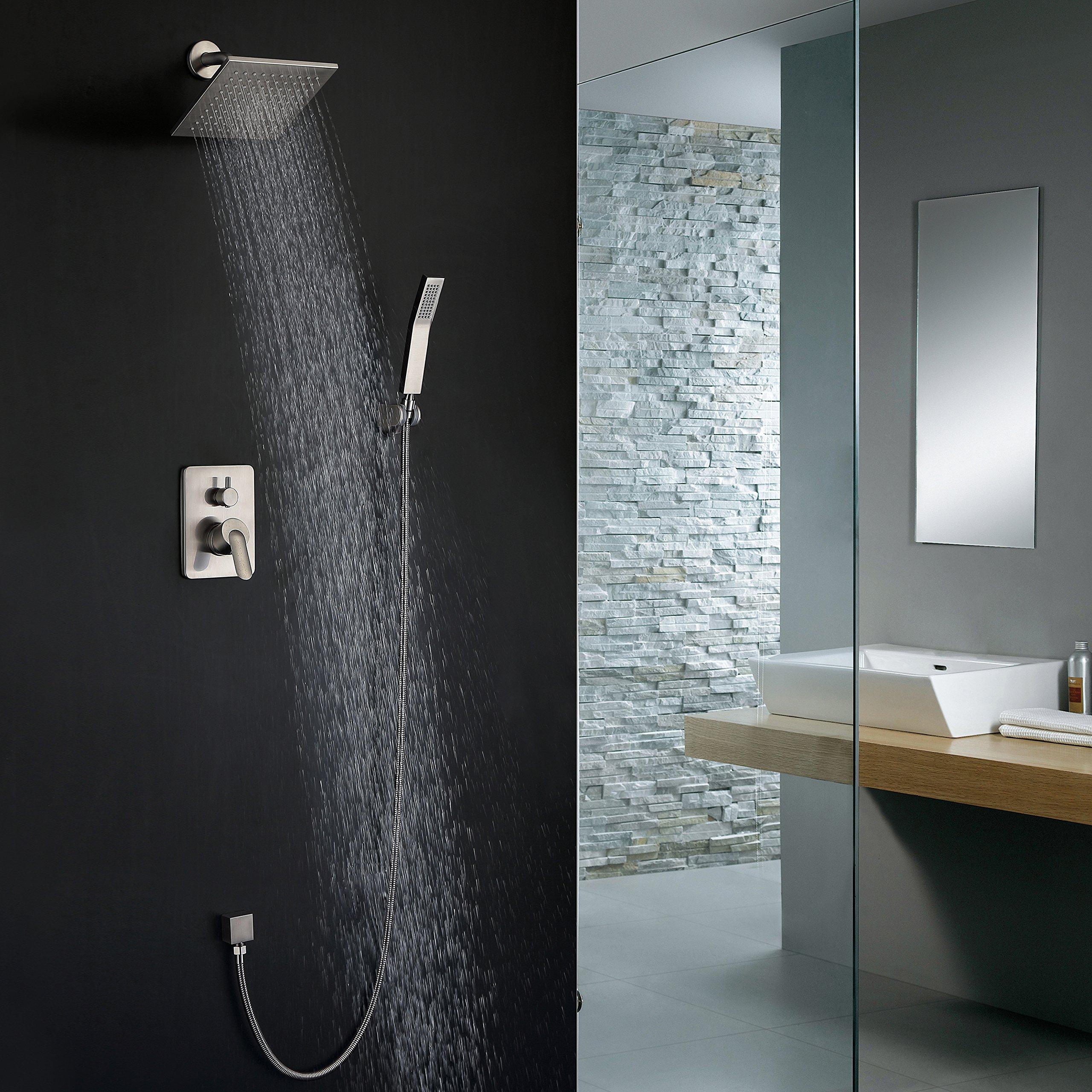 Shower Faucet Brushed Nickel All Metal Split Big Flow Rain Shower ...