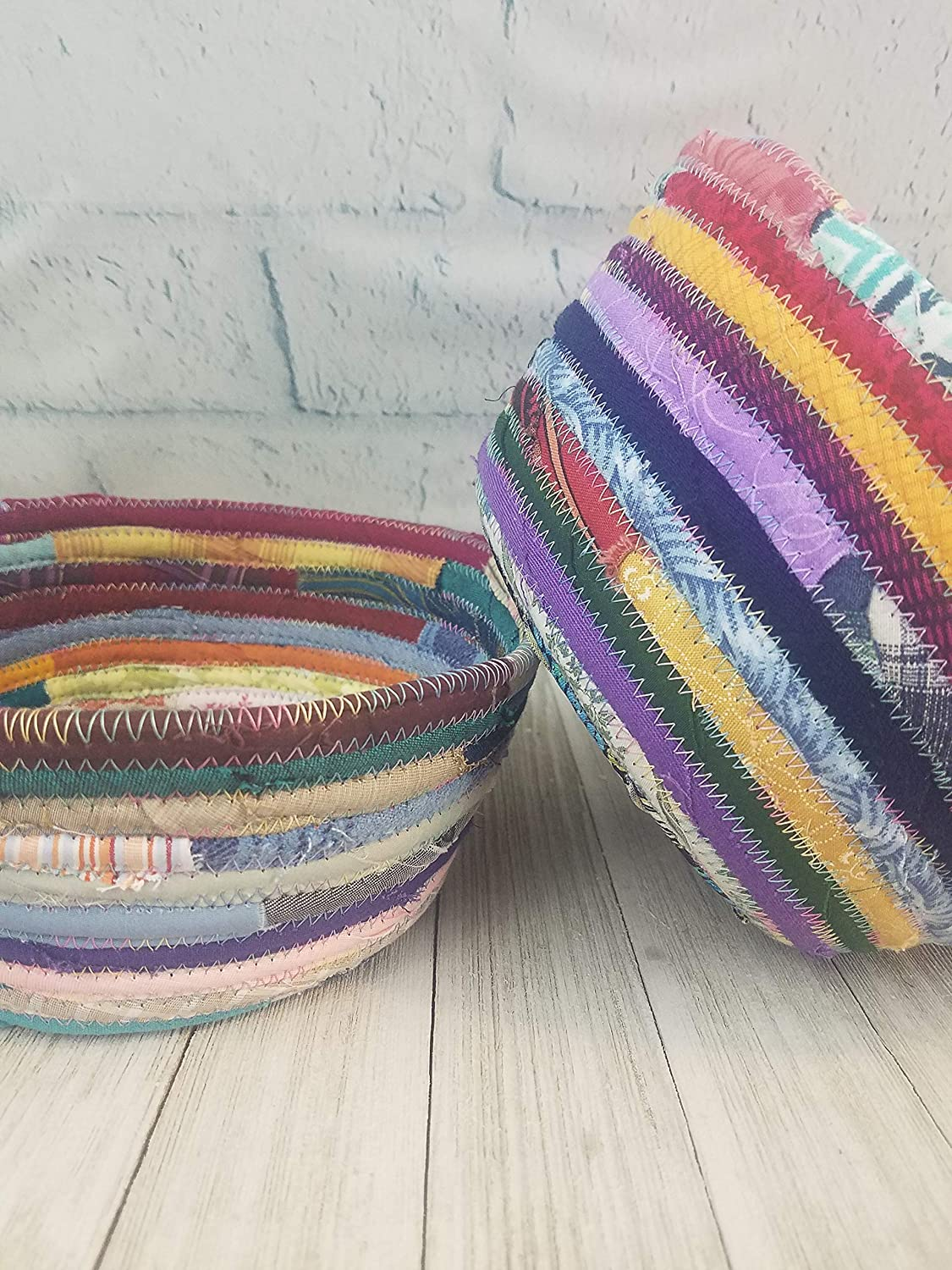 Handmade Upcycled Bohemian Style Gift Multicolor Fabric Basket or Bowl Boho Hippie Unique Colorful
