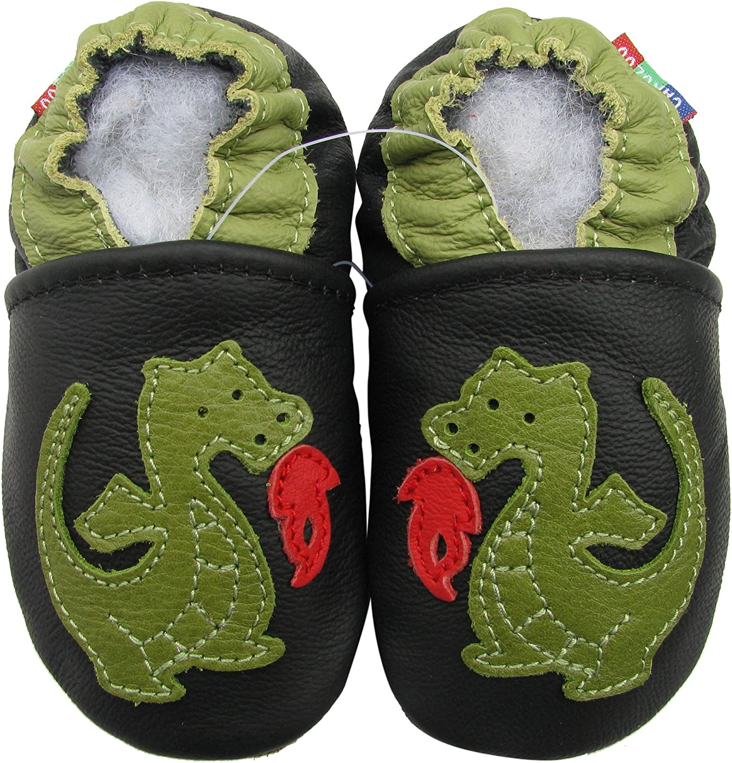 carozoo booties dark green 6-12m soft sole leather baby shoes