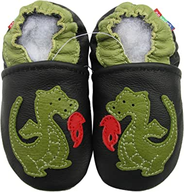 carozoo wolf black 6-7y soft sole leather kids shoes slippers