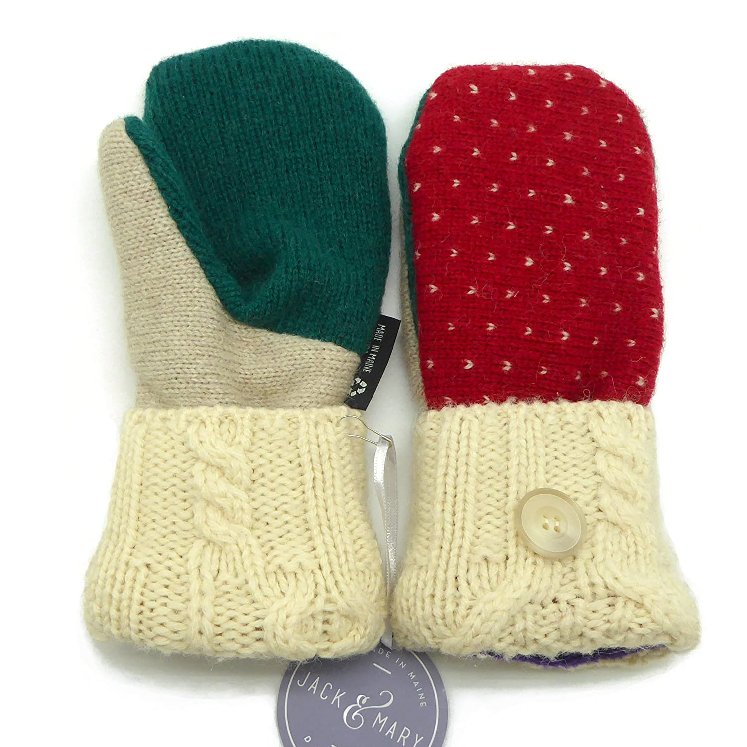 Jack Mary Designs Handmade Womens Fleece Lined Wool Mittens Made