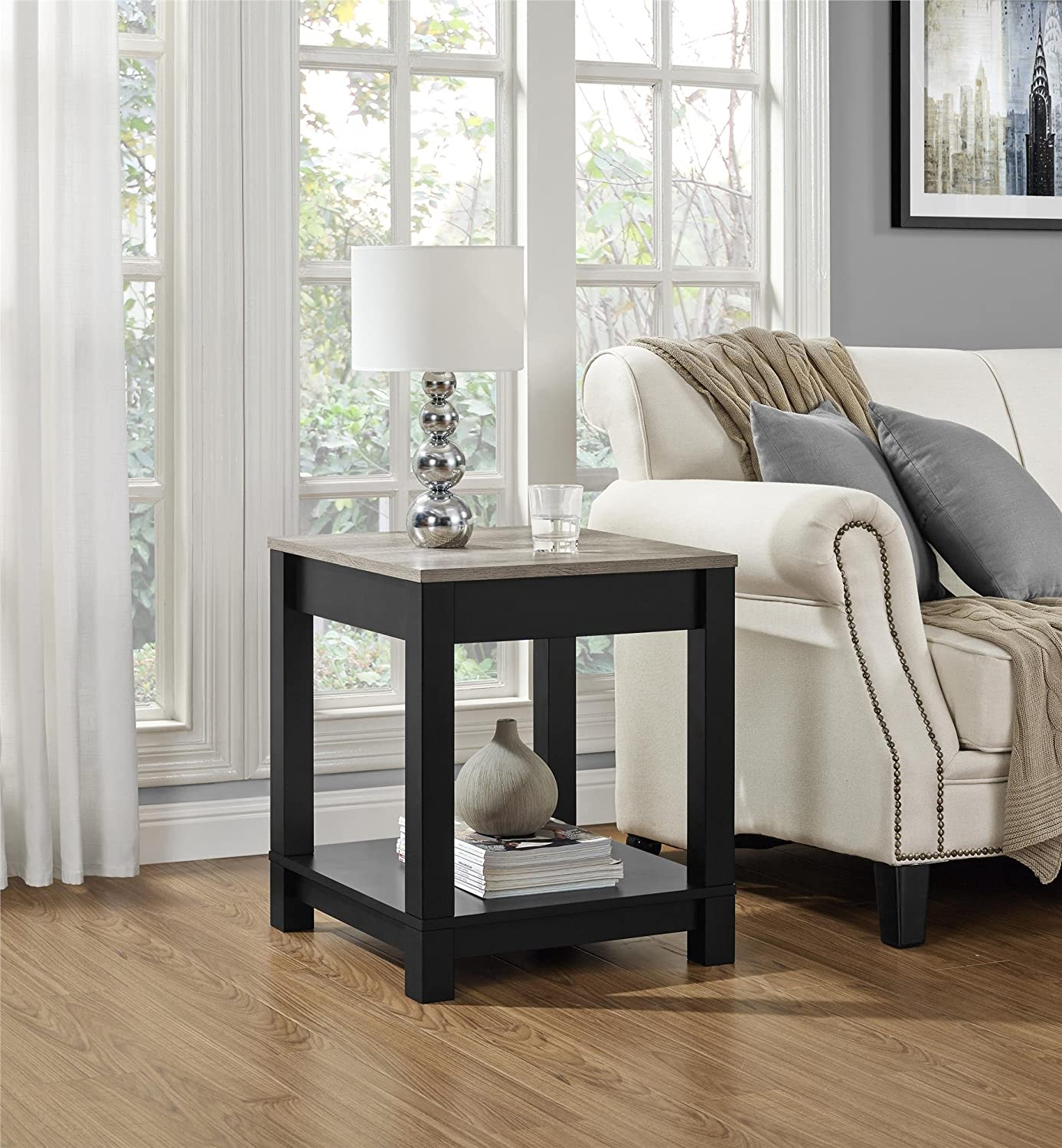 Home Furnishings Amazoncom Ameriwood Home Carver End Table Black Kitchen Dining
