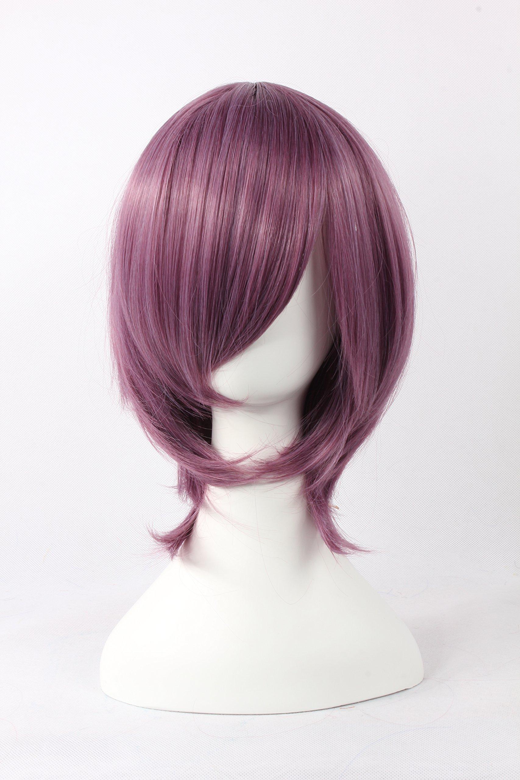 Coolsky Wigs Natsume Yuujinchou,Azrael,Saint Seiya Series Mix Purple Hair Cosplay Wig