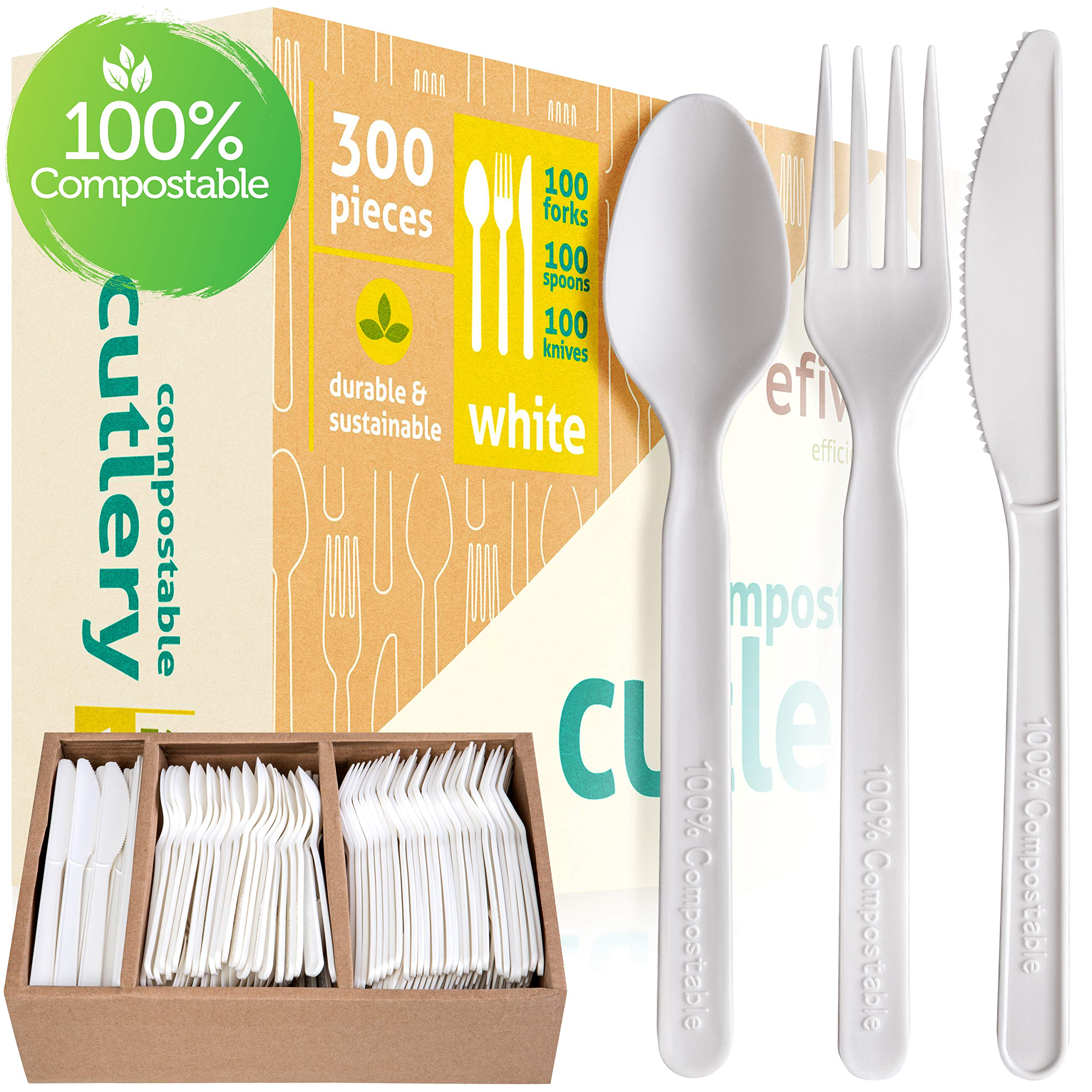 Compostable Cutlery Set - 100% Biodegradable And Disposable - Eco Friendly Alternative to Silverware And Traditional Plastic Utensils - Pack of 300 Incl. Knives, Forks and Spoons And Storage Tray by EFIWASI