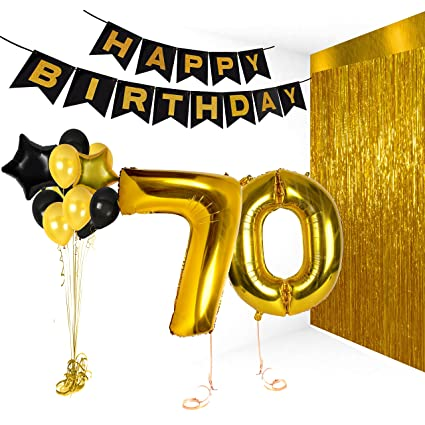 Happy 70th Birthday Decorations Old Party Supplies Black And Gold Centerpieces For Wedding Anniversary Decor Items