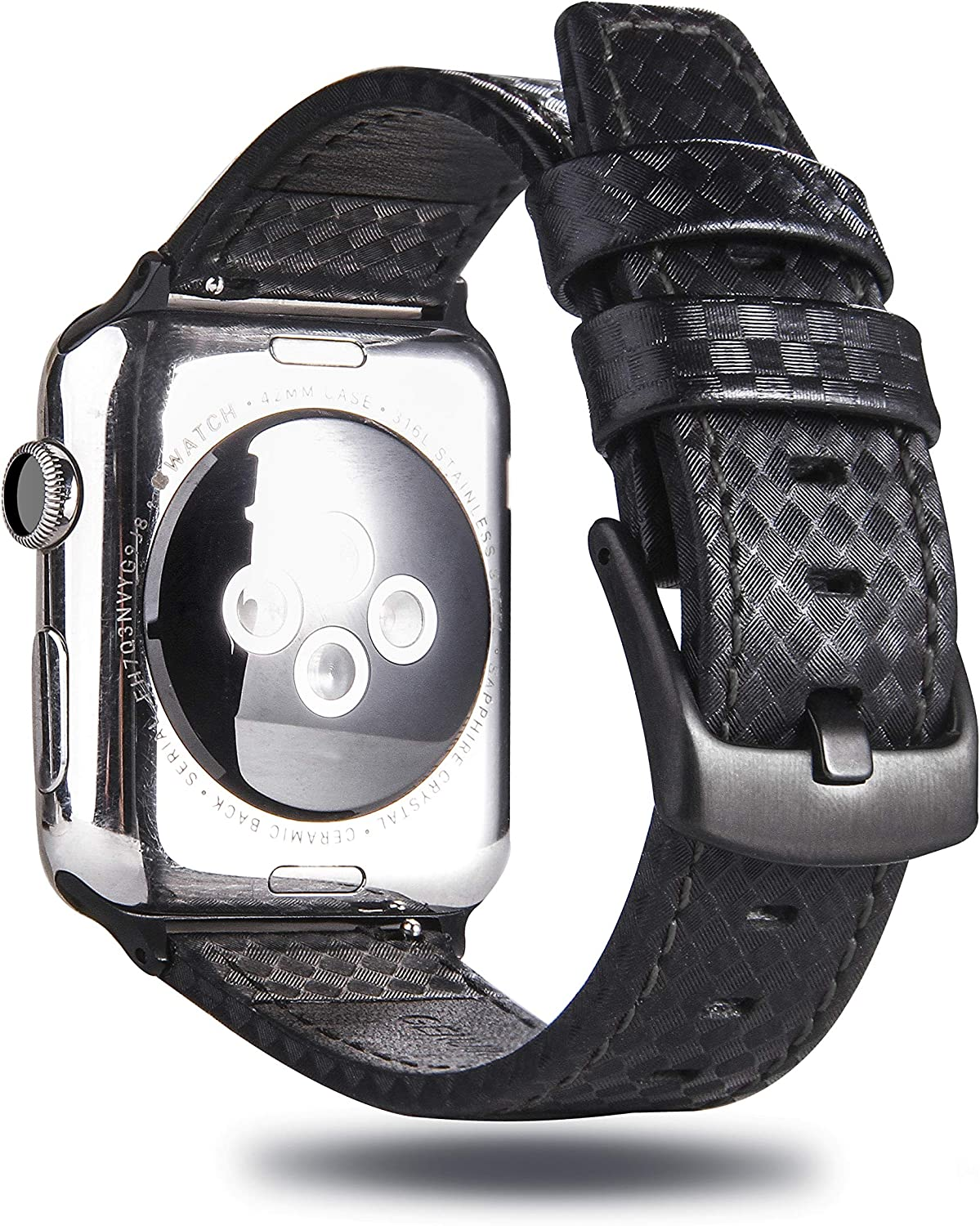 MeShow 44mm 42mm Genuine Leather Carbon Fiber Embossed Pattern with Black Stitching Strap Wrist Band with Secure Metal Clasp Buckle Compatible for Apple Watch Series 6/5/4(44mm)/Series 3/2/1(42mm)