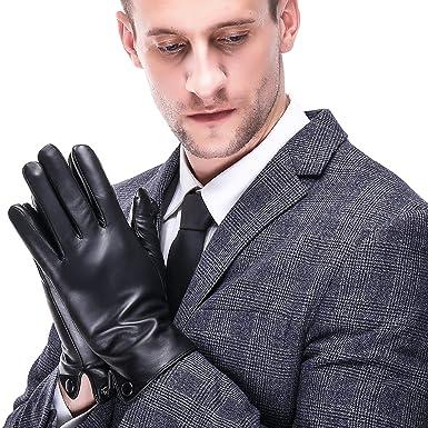 54e5f74ffbdec8 Acdyion Touchscreen Nappaleder Lederhandschuhe Winter Warm Driving Cashmere  Futter 100% PU Kunstleder und 100% Fleece gefüttert