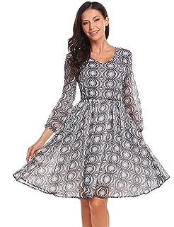 Meaneor Damen Chiffonkleid Abendkleid Knielang 50s Vintage Langarm Kleid  Mit Polka Dots Blumenkleid Cocktailkleid Partykleid Winterkleid 432f9f73c9