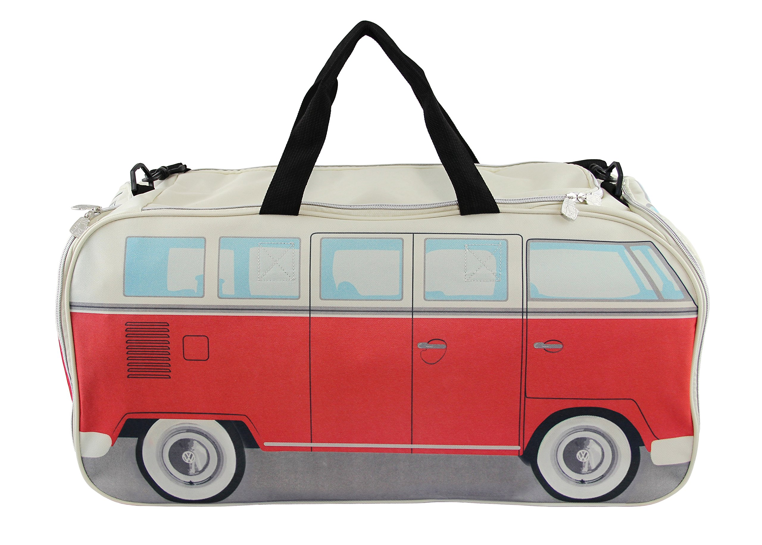 VW Collection by BRISA VW Bus T1 Sport and Travel Bag (Red/Beige)
