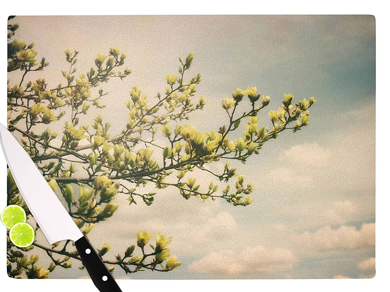 KESS InHouse AT1037ACB01 Angie TurnerYellow Magnolias Blue Photography Cutting Board Multi 11.5 x 8.25