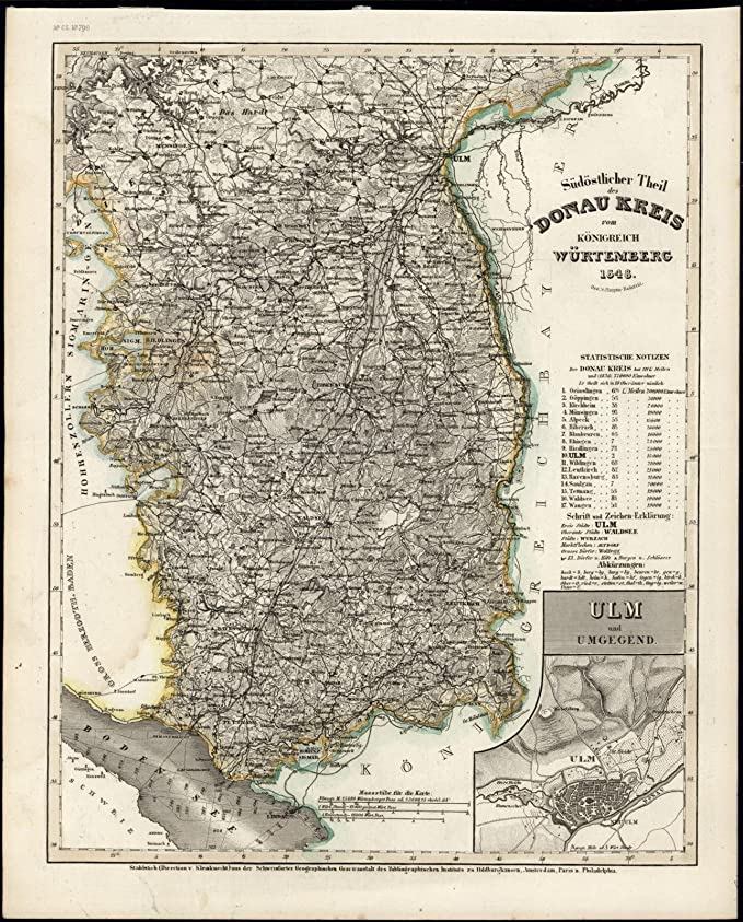 Map Of Germany Ulm.Danube Waƒa Rttemberg Germany Ulm Boden Sea 1848 Meyer Scarce