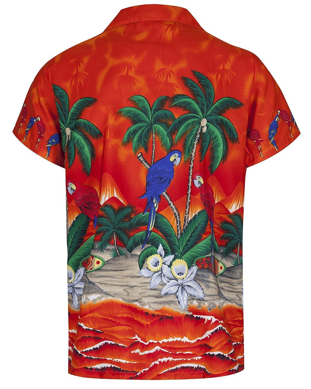 All Sizes Mens Hawaiian Shirt Short Sleeve Parrot STAG Beach Holiday Bird Fancy Dress Hawaii