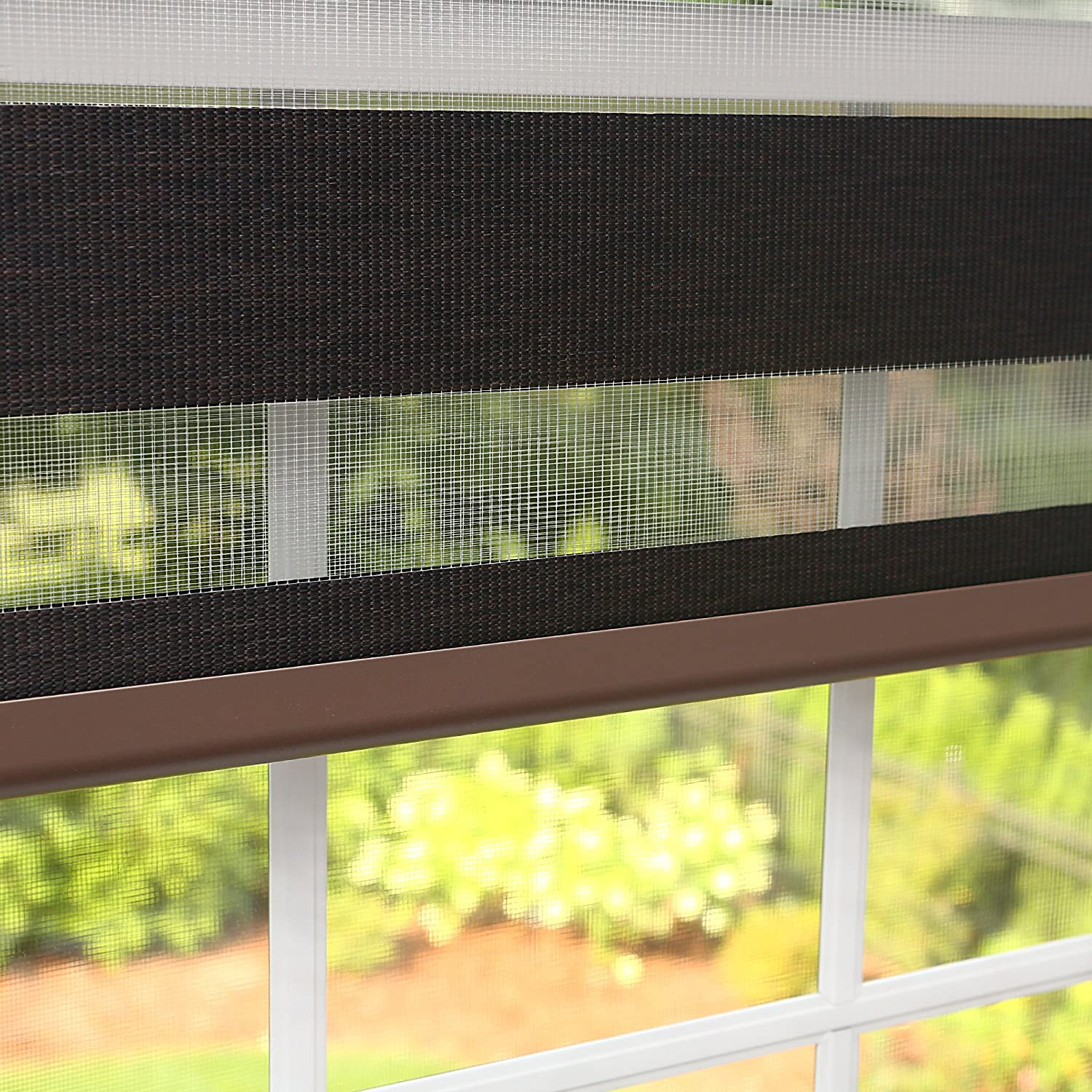 Best Home Fashion Closeout Premium Duo Wood Look Roller Window Shade - Charcoal - 34