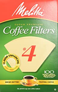Melitta Natural Brown Basket Coffee Filter, #4, 300 Count