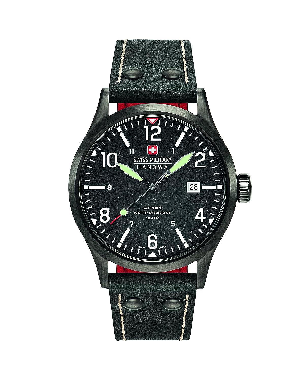 Reloj Cuarzo Swiss Military para Hombre con Negro Analogico Y Negro Cuero 6-4280.13.007.07: Amazon.es: Relojes