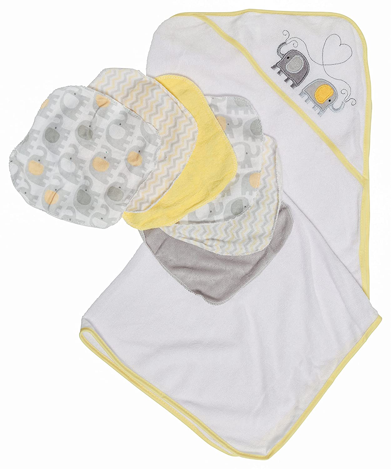 Little Beginnings Elephant Print Hooded Towel and Washcloths Gift Set, Yellow Cudlie Accessories GS70834