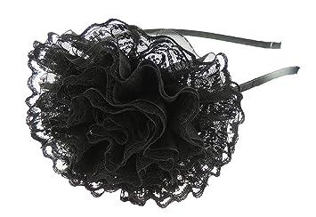 Ladies Girls Chiffon Floral Black Lace Hair Flower Fascinator Headband  Alice Band Black 616fda99aa3
