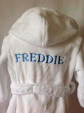 kids dressing gown personalised (4-5 years, White - without dots ...