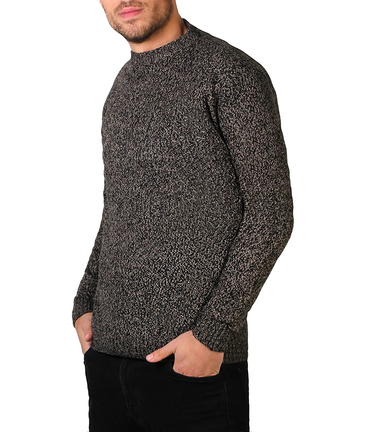 KRISP Mens Soft Wool Knitted Warm Sweater Grandad Pullover Round Crew Neck Top