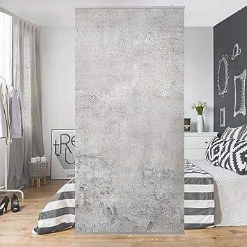 Schiebevorhänge Als Raumteiler flächenvorhang set shabby betonoptik steine felsen natur nauer grau