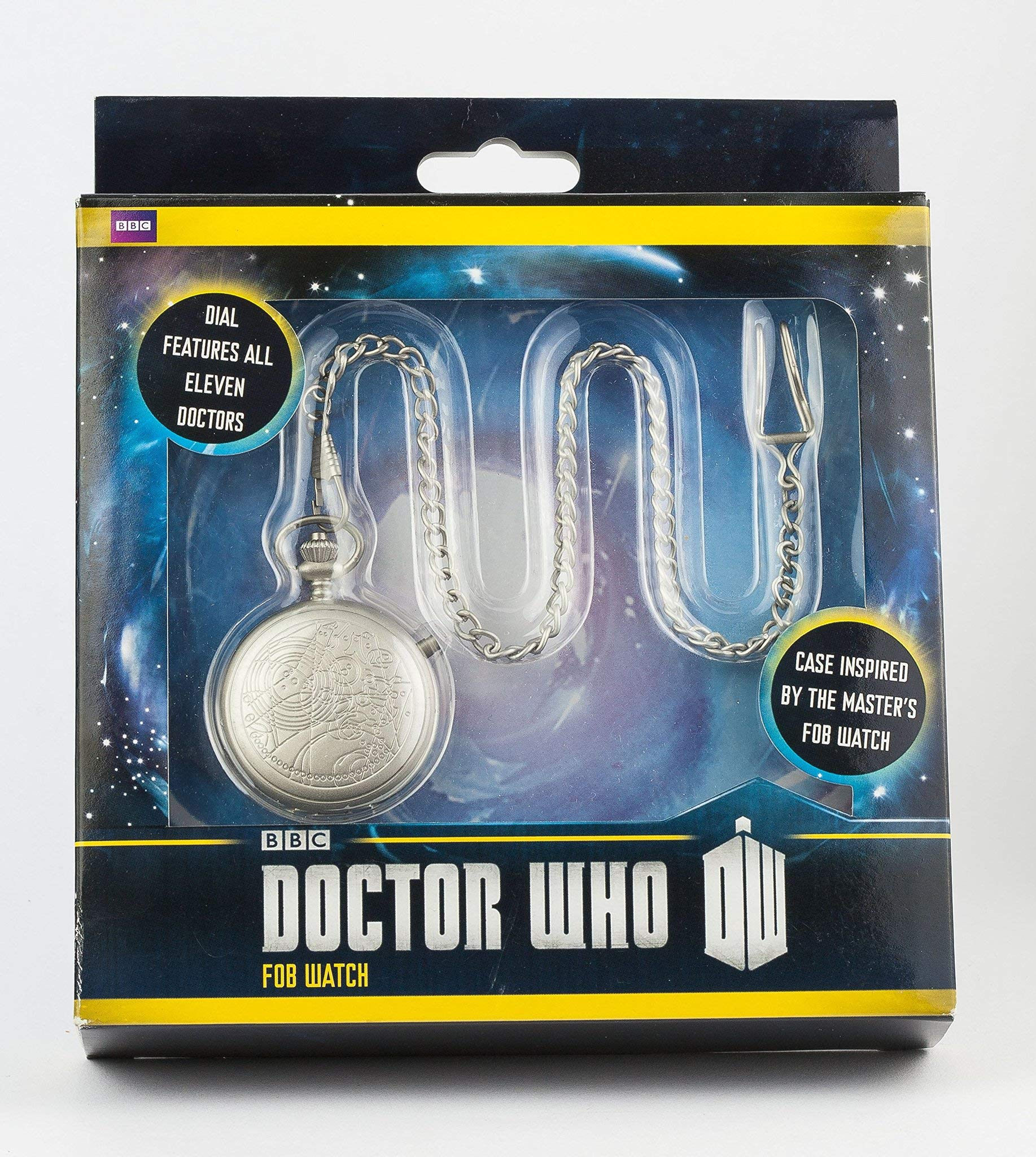 Doctor Who Watch - The Master's Fob Watch - 50th Anniversary Silver Pocket Timepiece - Light Up Dial by Underground Toys
