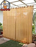 HIPPO - Decorative - Outdoor Loop Curtains - (80-85%) Sun Blockage - 2 Nos (Beige, 4.5 ft X 7.5 ft)