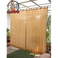 HIPPO Outdoor Loop Curtains Sun Blockage Duty 4x7.5ft (Beige)