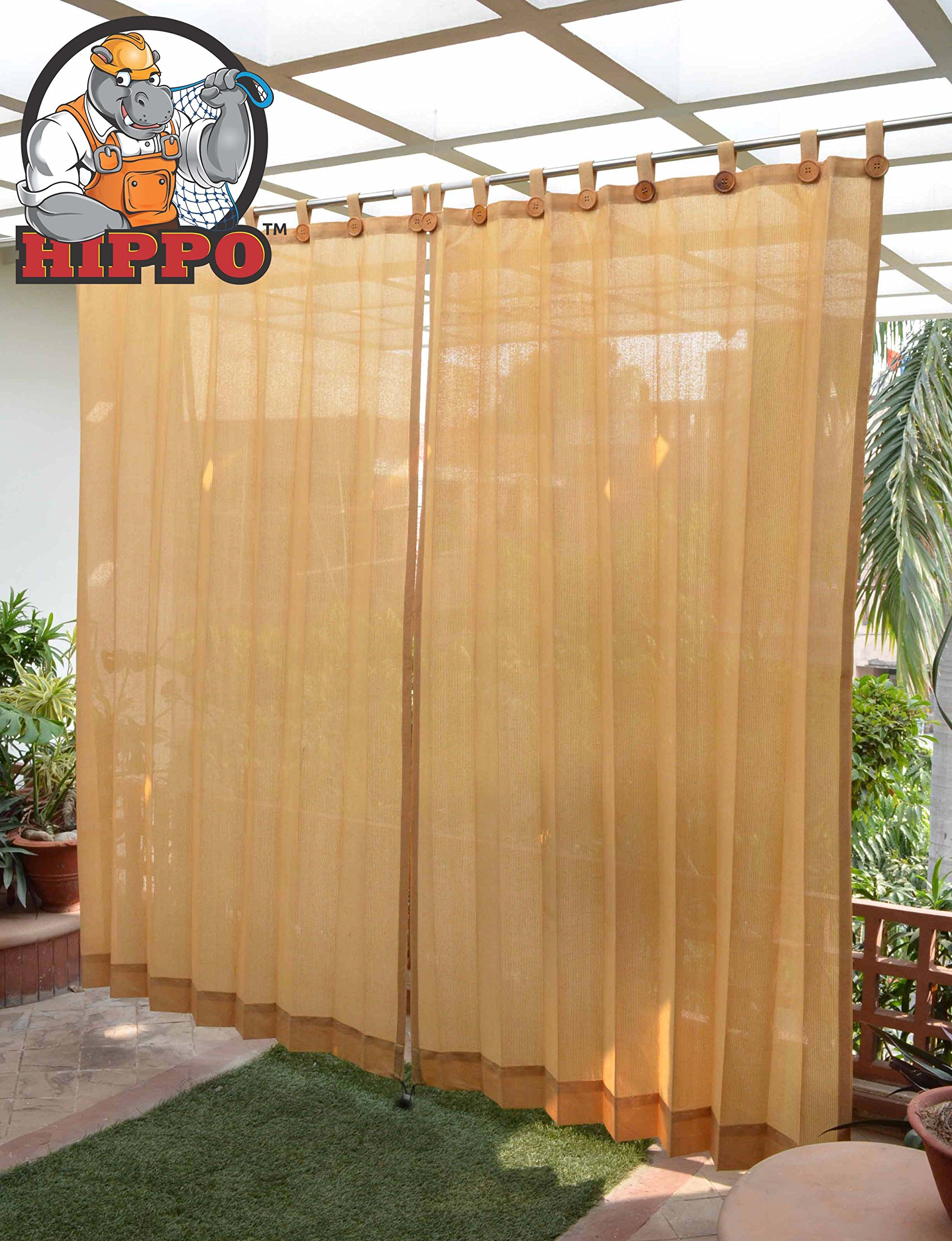 HIPPO Outdoor Loop Curtains - (80-85%) Sun Blockage - Medium Duty - Beige Colour - Full Size (2 Nos. x 4.5 Ft W x 7.5 Ft L product image
