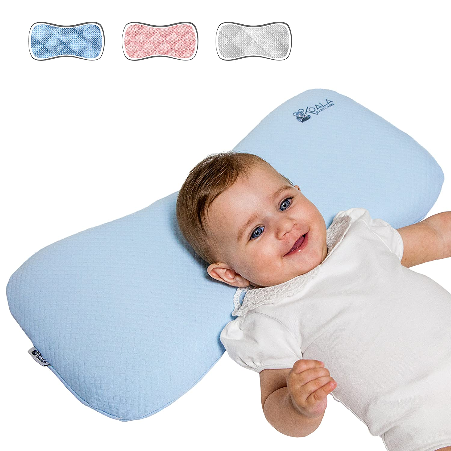 Head Care Orthopedic Cushion for infants from 0-36 months with two replacement covers, the Pillow prevents / heals plagiocephaly and flat head in memory foam Anti-suffocation - KoalaBabycare® - Blue - Maxi Koala Babycare