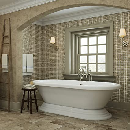 Luxury 60 Inch Freestanding Tub With Vintage Tub Design In White