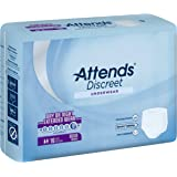 Attends Discreet Incontinence Care Day/Night Extended Wear Protective Underwear with DermaDry Technology for Adults, Medium, Unisex ,  16 Count (Pack of 4) (Packaging my vary)