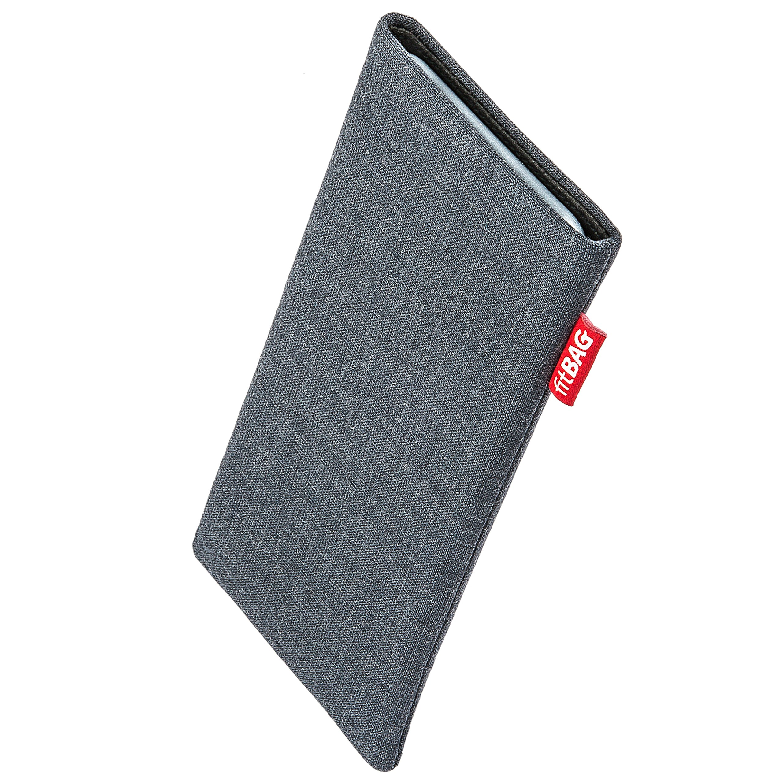 fitBAG Jive Gray Custom Tailored Sleeve for Apple iPhone X/Xs | Made in Germany | Fine Suit Fabric Pouch case Cover with Microfibre Lining for Display Cleaning by fitBAG