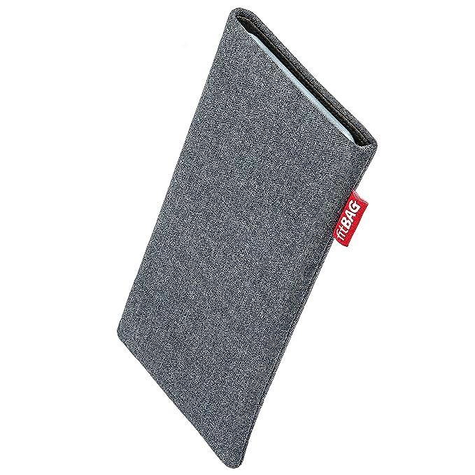 fitBAG Jive Grau Handytasche Tasche aus Textil-Stoff mit Microfaserinnenfutter für Fairphone 2 Slim 2016 | Hülle mit Reinigun