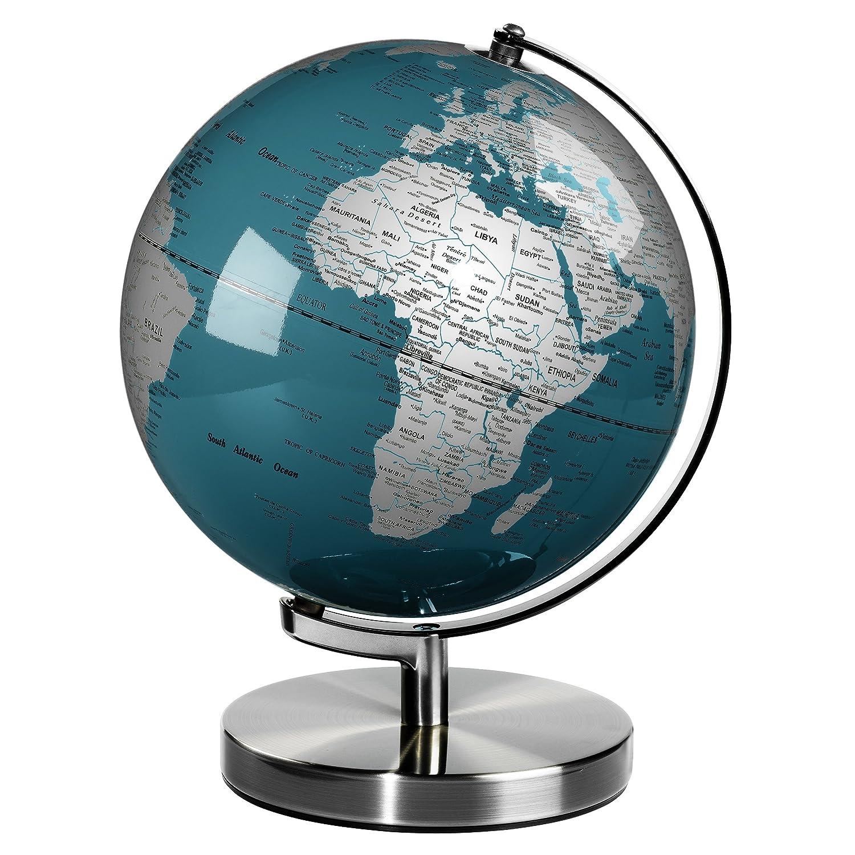 Wild Holz Globe 25,4 cm, chrom blau