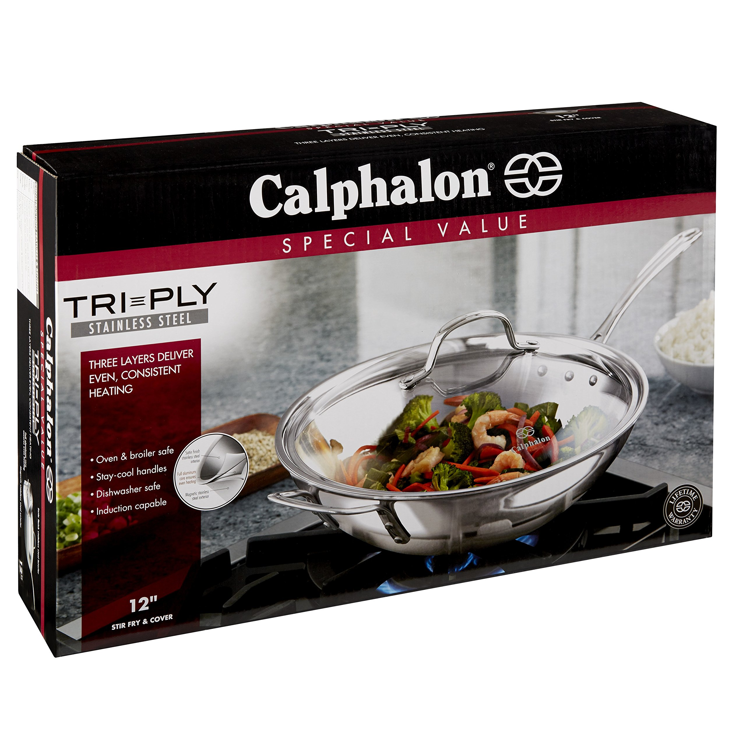 Calphalon Triply Stainless Steel 12-Inch Wok Stir Fry Pan with Cover by Calphalon (Image #7)
