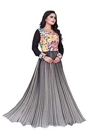 7be878d4d5fb Readymade Indian Pakistani Women s Evening Party Gown Long Maxi Dress SM  (Black -Off