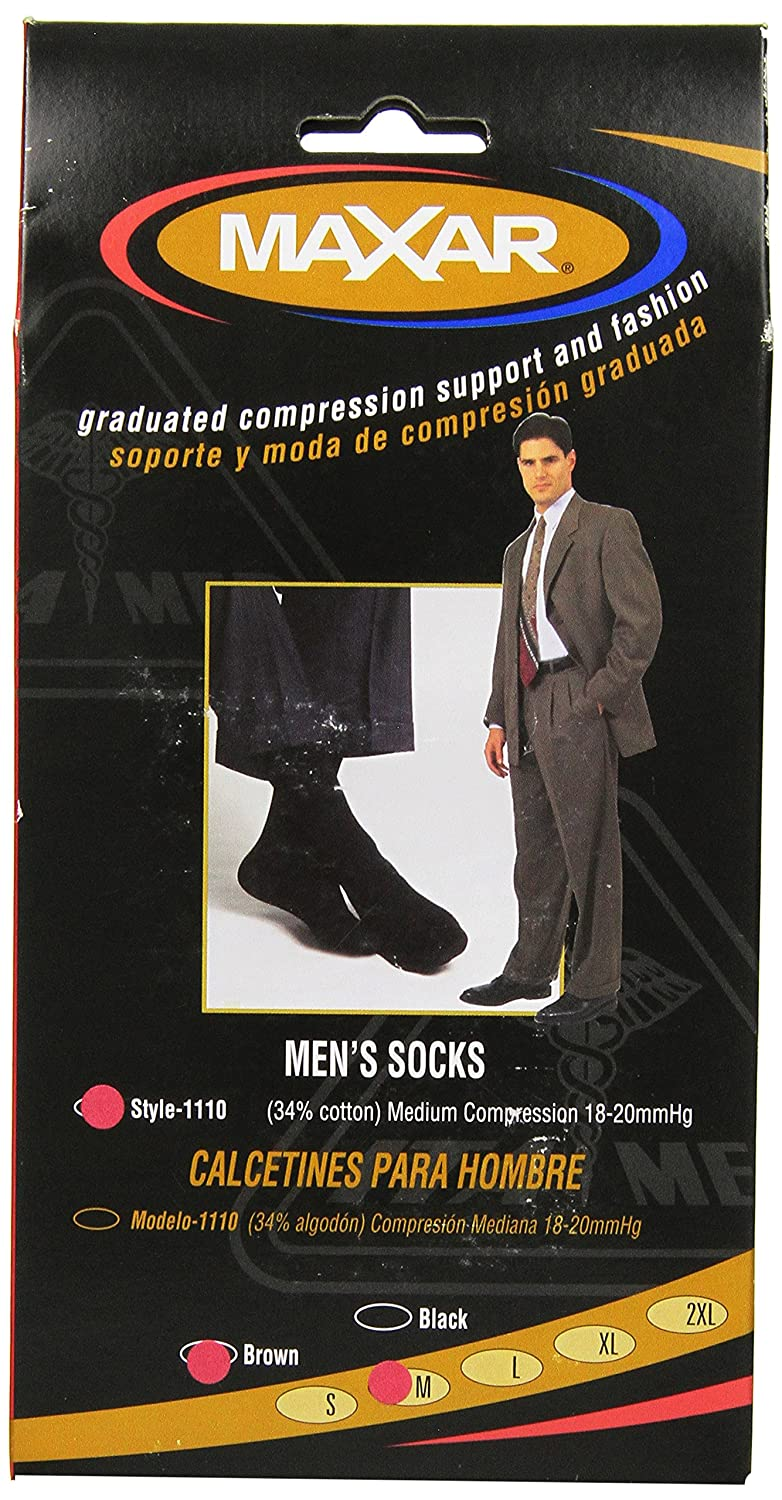 Amazon.com: MAXAR Mens Trouser Support Socks (20-22 mmHg) Black/Brown, Medium, 2 Count: Health & Personal Care