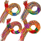 Elcoho 80 Pieces Colorful Handmade Braided Bracelets Assorted Friendship Thread Bracelets for Wrist Ankle Random Colors Party Supply